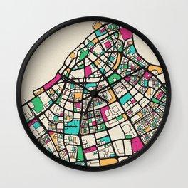Colorful City Maps: Kuwait City Wall Clock