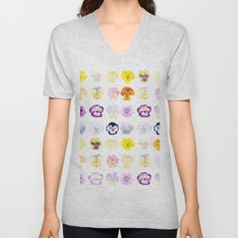 colorful pansies watercolor painting Unisex V-Neck
