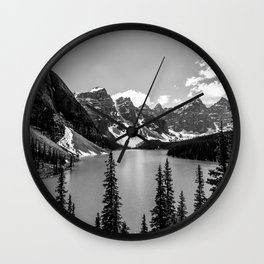 Lake Moraine Black and White Landscape Photography Wall Clock