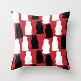 Black and white Scottish fold cats pattern Throw Pillow