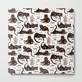 Gouache Black Cats & Coffee Metal Print
