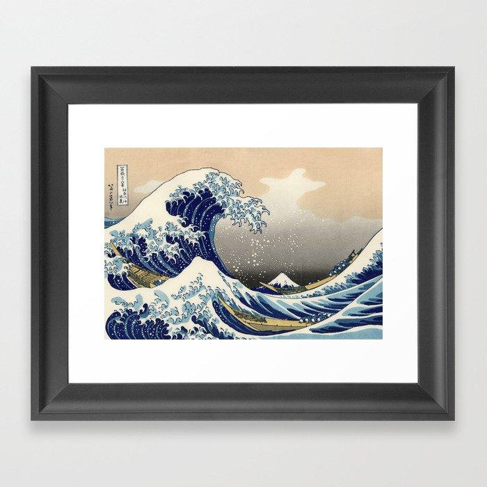 """Katsushika Hokusai """"The Great Wave off Kanagawa"""" Gerahmter Kunstdruck"""