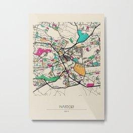 Colorful City Maps: Nairobi, Kenya Metal Print