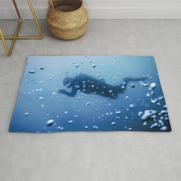 Scuba Diver Swimming on a Blue Water Air Bubbles Rug
