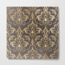 Gold foil swirls damask #10 Metal Print