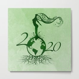 Mother Earth 2020 - Grunge Green Metal Print