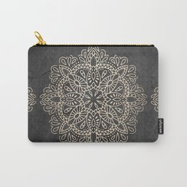 Mandala White Gold on Dark Gray Carry-All Pouch