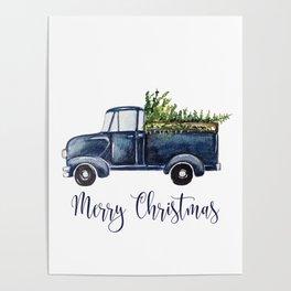 Blue Christmas Truck Poster