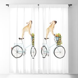 French Bulldog on Bicycle Blackout Curtain