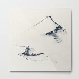 Boat Passing Mount Fuji  Metal Print