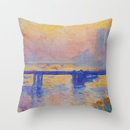 Claude Monet - Charing Cross Bridge Throw Pillow