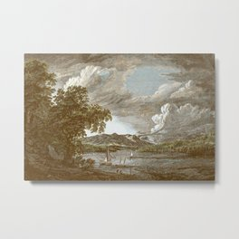 Hudson River and Catskills, Bourbon Watercolor Metal Print