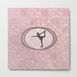 Figure Skating Lace Collection in Delicate Pink and Grey Design Metal Print