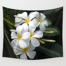 Wild Tropical Hawaiian Plumeria Flowers Wall Tapestry