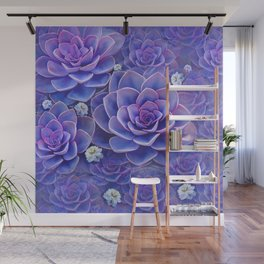 """""""Bouquet of pastel violet exotic succulents"""" Wall Mural"""