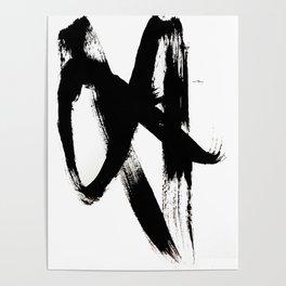 Brushstroke 2 - simple black and white Poster