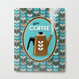 Mid Century Modern Coffee Kettle Kitchen Wall Decor // Caribbean Blue, Turquoise, Brown, Khaki, Tan Metal Print