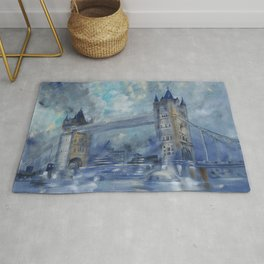 London bridge 110x160 cm Large impressionism acrylic painting on unstretched canvas S049 art by arti Rug