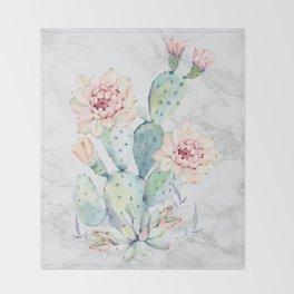 Watercolor Cactus Marble Throw Blanket