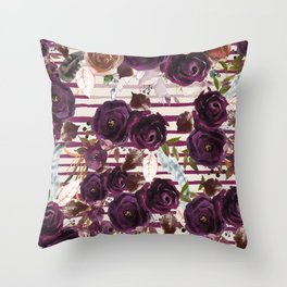 Watercolor ivory purple burgundy brown floral stripes Throw Pillow