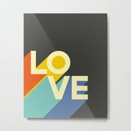 Retro 70s LOVE Typography Print Metal Print