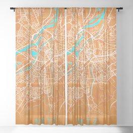 Metz, France, Gold, Blue, City, Map Sheer Curtain
