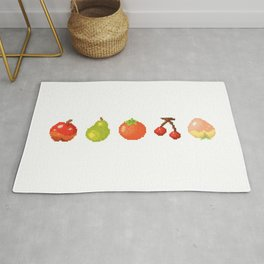Fruits pixel art | Apple Pear Orange Cherry Peach | Version 2 Rug