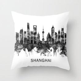 Shanghai China Skyline BW Throw Pillow