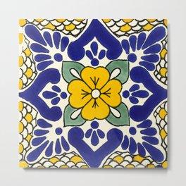 talavera mexican tile in yellow Metal Print