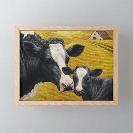 Holstein Cow and Cute Calf Framed Mini Art Print