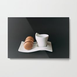 Set of cup of coffee and macaroons against black background Metal Print