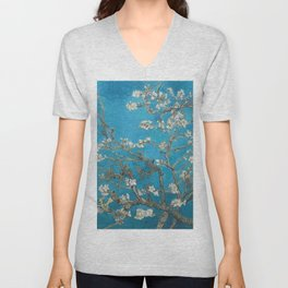 Vincent van Gogh Blossoming Almond Tree (Almond Blossoms) Medium Blue Unisex V-Neck