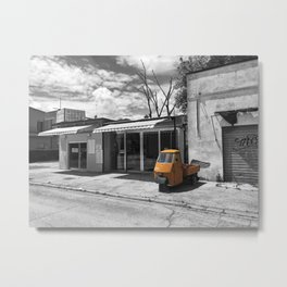 Black and White Photography of an Orange Vespa Ape in Italy Metal Print