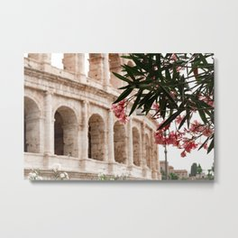 Travel Photography: Flowers in front of the Colosseum, Italy Metal Print