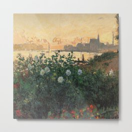 Claude Monet Neck Gaiter FLowers on the Riverbank at Argenteuil Monet Neck Gator Metal Print