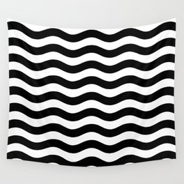 Wavy Stripes Patten Black and White Wall Tapestry