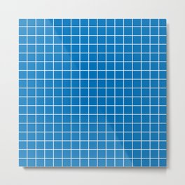 French blue - blue color - White Lines Grid Pattern Metal Print