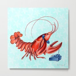 Lobster on the phone Metal Print