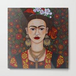 Frida with butterflies Metal Print