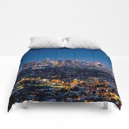 Los Angeles, California, I love LA Downtown Skyline, Golden lights, USA Sunset Blvd, Palms, Cali Map Comforters
