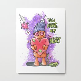 You have my heart! From the Eddie the voodoo doll series print. Metal Print