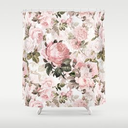 Vintage & Shabby Chic - Sepia Pink Roses  Shower Curtain