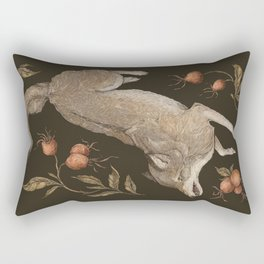 The Wolf and Rose Hips Rectangular Pillow