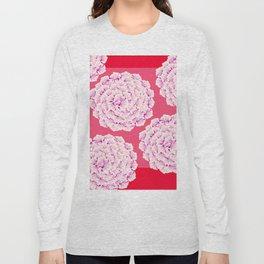 Large Flower Balls On Red Background #decor #society6 #buyart Long Sleeve T-shirt