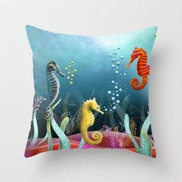 Sea Horse Ranch Throw Pillow