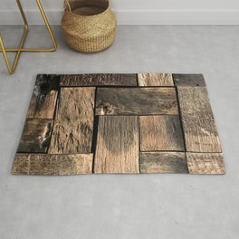 Rustic Wood Block // Tetris Jenga Vibe Real Hardwood Texture Accent Decoration Rug