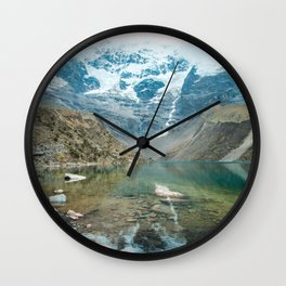 Perfection | Nature Landscape Photography of Still Blue Lake with Snowy Mountains in Peru Wall Clock