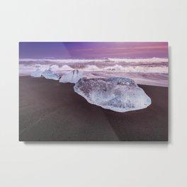 ICELAND Blocks of ice on the coast Metal Print