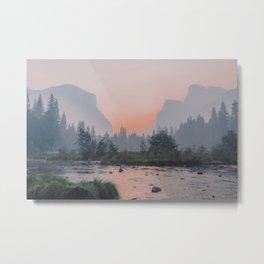 Yosemite Valley Sunrise Pretty Pink Metal Print