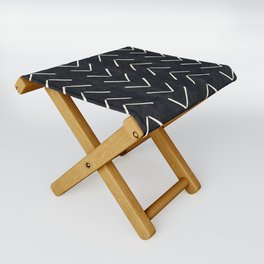Mudcloth Big Arrows in Black and White Folding Stool